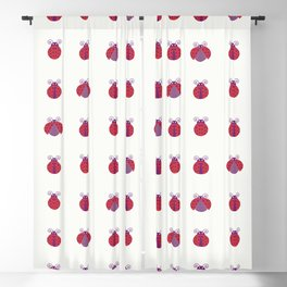 Red ladybugs with purpled dots aligned over light yellow background seamless pattern Blackout Curtain