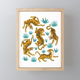 Asian tigers and tropic plants on background. Framed Mini Art Print