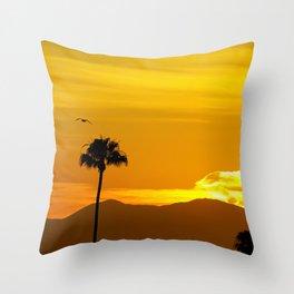 Seagull Over Saddleback at Sunrise Throw Pillow