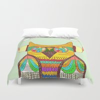 rustic Duvet Covers featuring The Owl rustic song by Picomodi