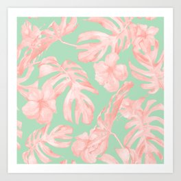 Tropical Palm Leaves Hibiscus Pink Mint Green Art Print