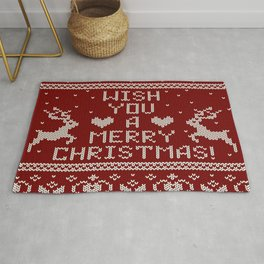 Vintage ugly sweater knitted christmas pattern with reindeer, snowflakes, we wish you a merry christmas. Rug