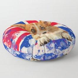 Corgi Portrait with Britain Flag Floor Pillow