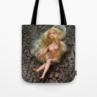 barbie Tote Bags featuring barbie by art_by_a_rose