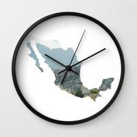 mexico Wall Clocks featuring Mexico by Isabel Moreno-Garcia