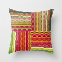 Wavy Squares Throw Pillow