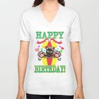 happy birthday V-neck T-shirts featuring Happy Birthday! by BATKEI