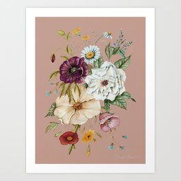 Colorful Wildflower Bouquet on Pink Art Print