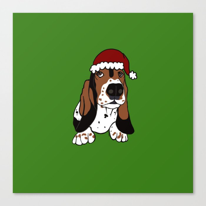 A Basset Full of Christmas Canvas Print