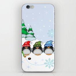 Cute Hockey Penguins in Snowy Winter landscape iPhone Skin