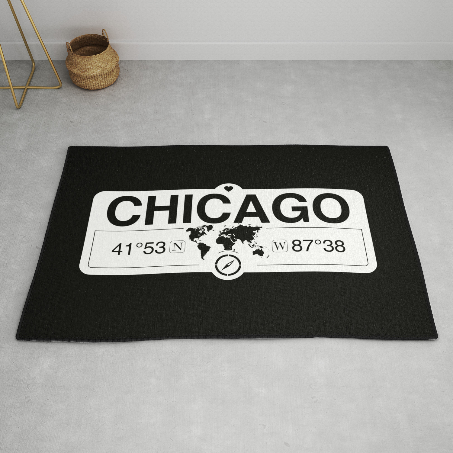 Chicago Illinois Gps Coordinates Map Artwork With Compass Rug By Map Your World Society6