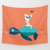 turtle Wall Tapestries featuring Cat on a Turtle by Jay Fleck