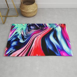 lava meets the sea abstract oil painting Rug