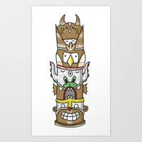 totem Art Prints featuring totem by ybalasiano