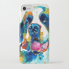 Colorful Saint Bernard Dog by Sharon Cummings iPhone 7 Slim Case
