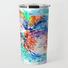 Underwater Scene Artwork, Discus Fish, Turquoise blue pink aquatic design Travel Mug