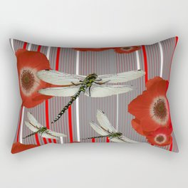 AWESOME DRAGONFLIES & RED POPPY FLOWERS ART Rectangular Pillow