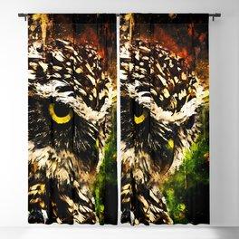 burrowing owl splatter watercolor Blackout Curtain