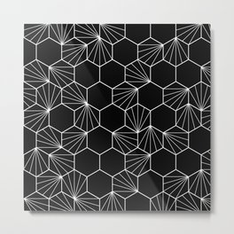 Hexagonal hive black white pattern Metal Print