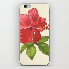 Pink Tropical Hibiscus Flower Painting iPhone Skin