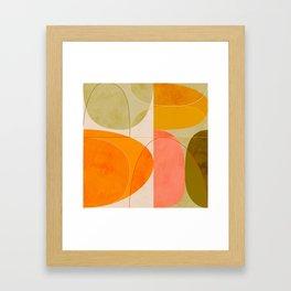 mid century geometric lines curry blush spring Framed Art Print