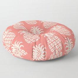 Retro Mid Century Modern Pineapple Pattern Coral 2 Floor Pillow