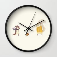 autumn Wall Clocks featuring The Last Acorn of Autumn by Teagan White