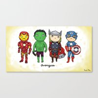 super heroes Canvas Prints featuring Super Cute Heroes: Avengers! by Kayla Dolby