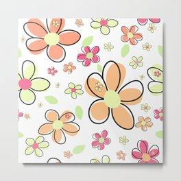 Cute colorful simple daisy flower pattern Metal Print