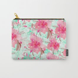 Hot pink turquoise hand painted watercolor floral Carry-All Pouch