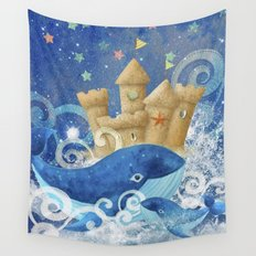 Sandcastle Waves Whales Wall Tapestry
