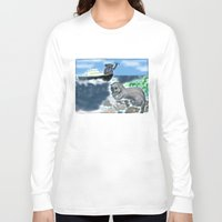 otters Long Sleeve T-shirts featuring Otters Love by Gaby Kasan