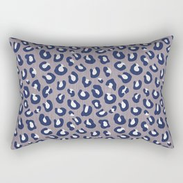 LEOPARD PRINT - NAVY ON GRAY Rectangular Pillow