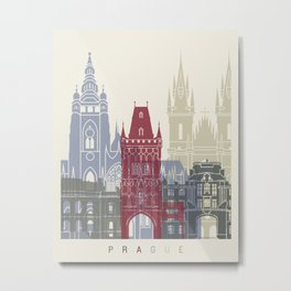 Prague skyline poster Metal Print