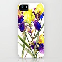 Garden Iris Floral Artwork Yellow Purple Blue Floral design, bright colored floral design iPhone Case