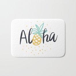Aloha lettering and pineapple Bath Mat