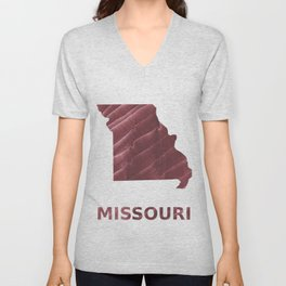 Missouri map outline Burgundy stained wash drawing picture Unisex V-Neck