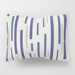 Interrupted Lines Mid-Century Modern Minimalist Pattern in Blue, Purple on a Pale Gray Background Pillow Sham