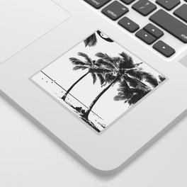 Black and White Palm Tree with Hawaii Summer Sea Beach Sticker