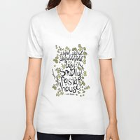 pasta V-neck T-shirts featuring Smelly Pasta House by lrrra