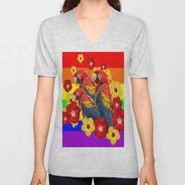 TROPICAL RAINBOW ART MACAWS & RED YELLOW HIBISCUS Unisex V-Neck
