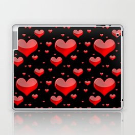 Hearts Red and Black Laptop & iPad Skin