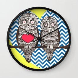 Owl Love Yellow Blue & Red Print Home Decor Wall Clock