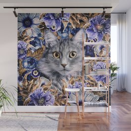 Cat in Flowers. Autumn Wall Mural