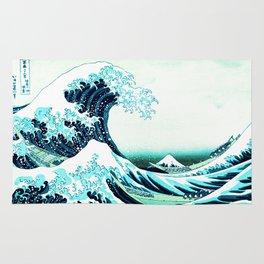 the great wave : aqua teal Rug
