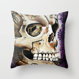 purple gothic Henna Skull  Throw Pillow