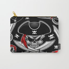 Skull Pirate Captain with Crossed Sabers Carry-All Pouch
