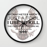 politics Wall Clocks featuring Politics of Blood by Gray Spear Society