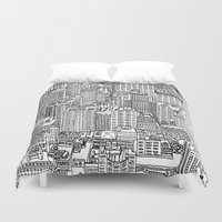 levi Duvet Covers featuring New York View 3 by Michael Levi