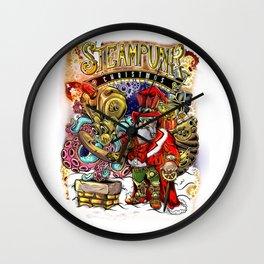Steampunk Santa Claus & Octopus Reindeer Christmas Wall Clock